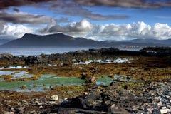 Skalisty Seashore Szkocja w Pogodzie Sztormowej Fotografia Stock