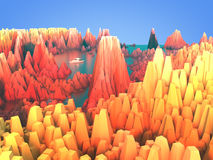 Skalisty teren i jezioro royalty ilustracja