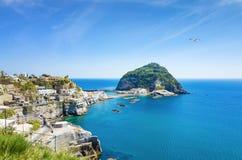 Skalisty wybrzeże mała wioska Sant «Angelo, gigant zieleni skała w dennych pobliskich Ischia wyspy, Włochy fotografia royalty free
