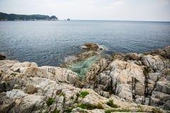 Skalisty wybrzeże morze Japonia zdjęcia royalty free