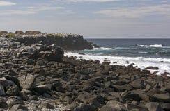 Skalisty wybrzeże na Dalekiej wyspie zdjęcia stock