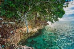 Skalisty wybrzeże Więźniarska wyspa obrazy royalty free