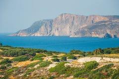Skalisty wybrzeże blisko Agios Nikolaos na Crete Obrazy Royalty Free