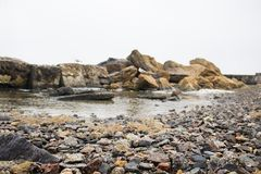 Skalisty wybrzeże Czarny morze w Odessa Obrazy Stock