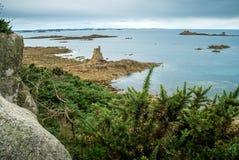 Skalisty wybrzeże w Bretagne Zdjęcia Royalty Free