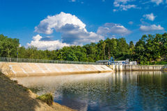 Skalka Dam. Cheb, Czech Republic. Dam was built in 1964 to suply industrial objects down the river with enough water and prevent flood Royalty Free Stock Photos