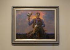 Skall Rogers olja på kanfasmålning, Claremore, Oklahoma Arkivbilder