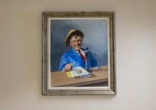 Skall Rogers olja på kanfasmålning, Claremore, Oklahoma Arkivfoton