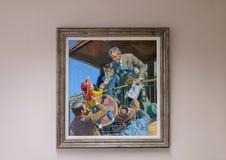 Skall Rogers olja på kanfasmålning, Claremore, Oklahoma Royaltyfria Bilder