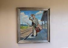 Skall Rogers olja på kanfasmålning, Claremore, Oklahoma Royaltyfri Fotografi