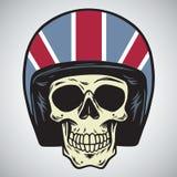 Skallar med illustrationen för vektor för England motorcykelhjälm vektor illustrationer