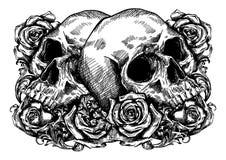Skallar som slås in i rosor, blommor och sidor royaltyfri illustrationer