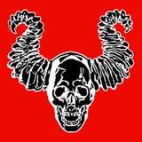 Skalle av en demon med horn också vektor för coreldrawillustration Royaltyfri Foto