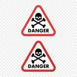 Skalle för fara för varningstecken på isolerad genomskinlig bakgrund Vektorbeståndsdel för din design royaltyfri illustrationer