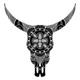 Skalle för löst djur i svartvitt inspirerat vid hand drog konst- och indianfolktatueringar och konst med manadaladekoren royaltyfri illustrationer