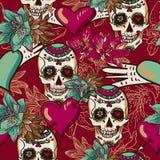Skalle, hjärtor och sömlös bakgrund för blommor royaltyfri illustrationer