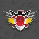 Skalle i basker med Eagle krigemblem Royaltyfri Fotografi