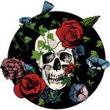Skalle i blommor royaltyfri illustrationer