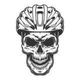 Skalle i cykelhjälmen stock illustrationer