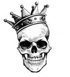 Skalle i krona stock illustrationer