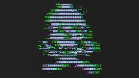 Skalle med ben som göras från bokstäver med den brutna teknologitekniskt felsamkopieringen - programvarupiratkopiering, datavirus stock video
