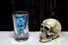 Skalle med blå is i skottexponeringsglas - stilleben royaltyfri bild