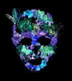 Skalle med blommor, fjädrar Vattenfärg i tappningbohostil Fotografering för Bildbyråer