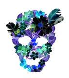 Skalle med blommor, fjädrar Vattenfärg i tappningbohostil Royaltyfri Fotografi