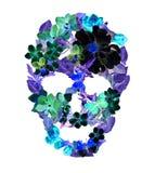 Skalle med blommor i neonljus Tappningbohostil Arkivfoton