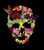 Skalle med blommor och fjädrar för allhelgonaafton vattenfärg Royaltyfria Bilder