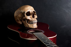 Skalle med den akustiska gitarren Royaltyfria Bilder