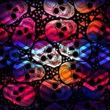 Skalle med den polygonal prydnaden halloween seamless Royaltyfri Fotografi