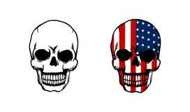 Skalle med den utskrivavna amerikanska flaggan i skalle vektor illustrationer