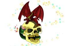Skalle med en färgad drake Royaltyfri Bild