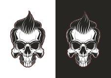 Skalle med hår royaltyfri illustrationer