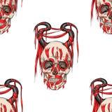 Skalle med horns royaltyfri illustrationer