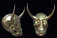 Skalle med horns illustration 3d på isolerad bakgrund vektor illustrationer