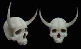 Skalle med horns illustration 3d på isolerad bakgrund stock illustrationer