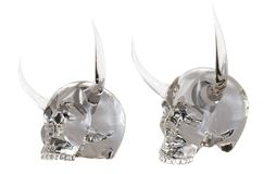Skalle med horns illustration 3d på isolerad bakgrund royaltyfri illustrationer