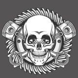 Skalle med pistonger mot motorcykelkugghjulemblem stock illustrationer