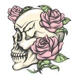 Skalle med rosor vektor illustrationer