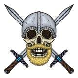 Skalle med skägget, korsade svärd och hjälmen Tecknad filmskalle Illustration för vektorhandattraktion vektor illustrationer