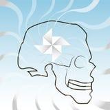 Skalle med vind vektor illustrationer