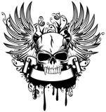 Skalle med vingar royaltyfri illustrationer