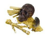 Skalle med voodoodockan Arkivbilder