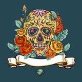 Skalle- och blommadag av dödaen Royaltyfri Foto