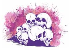 Skalle och Crossbones mänskliga skallar och ben med grunt djup av fältet stock illustrationer