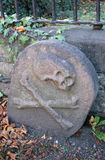 Skalle och korslagda benknotor på dennamngav gravstenen i kyrkogård Royaltyfri Foto