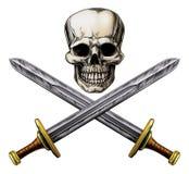 Skalle- och korssvärd piratkopierar tecknet royaltyfri illustrationer