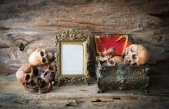 Skalle och ram på wood bakgrund Arkivfoton